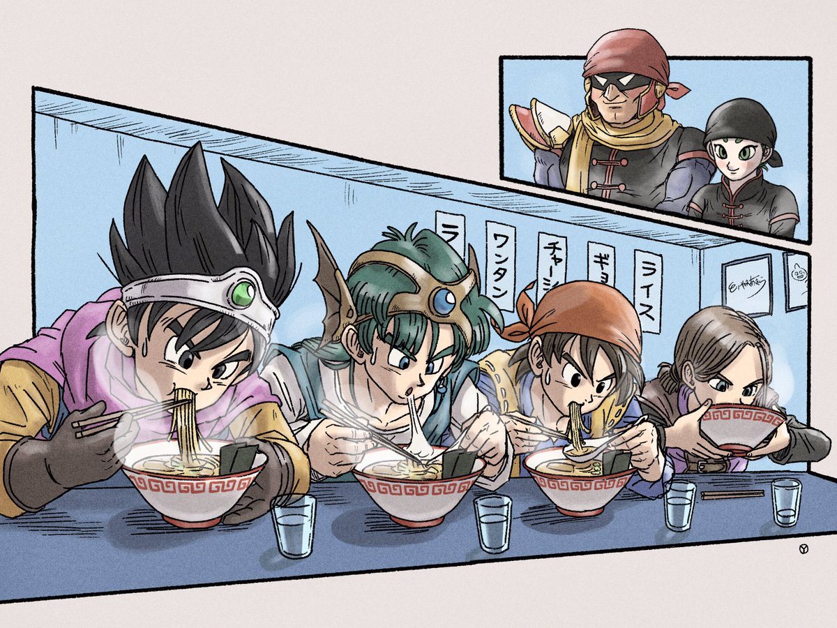 The Dragon Quest crew having a bowl of ramen at MinMin's Mintendo Noodle House. <br>http://pic.twitter.com/WNJSLub9Ku