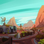 Image for the Tweet beginning: A desert background piece I