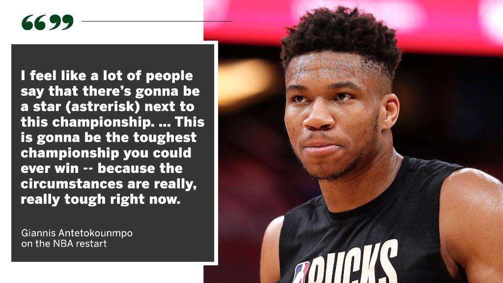 The path to the NBA title is tougher than ever, according to Giannis Antetokounmpo. https://t.co/9NfBFoRHIa