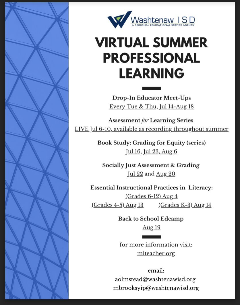 Summer Learning @WashISD  Drop-In Educator Meet-Ups, Assessment for Learning Series, Book Studies,Socially Just Assessment & Grading, Essential Instructional Practices in Literacy, Back to School Edcamp #michiganliteracy   https:// drive.google.com/drive/u/0/sear ch?q=type:pdf  … <br>http://pic.twitter.com/BLpFS34Wtc
