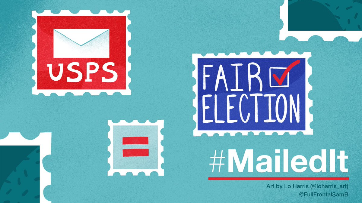 To protect our elections, we must protect the @USPS. And @FullFrontalSamB is doing just that by purchasing a stamp for every use of the #MailedIt hashtag today, 7/1. Tweet your support with #MailedIt. 📬 https://t.co/rqTnxdtpJv