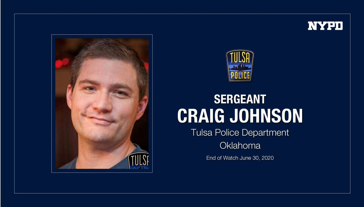 Our prayers are with the family, friends and co-workers of @TulsaPolice Sergeant Craig Johnson who was shot and killed conducting a traffic stop. May he rest in peace. #FidelisAdMortem #NeverForget <br>http://pic.twitter.com/kWY6AcqTTb