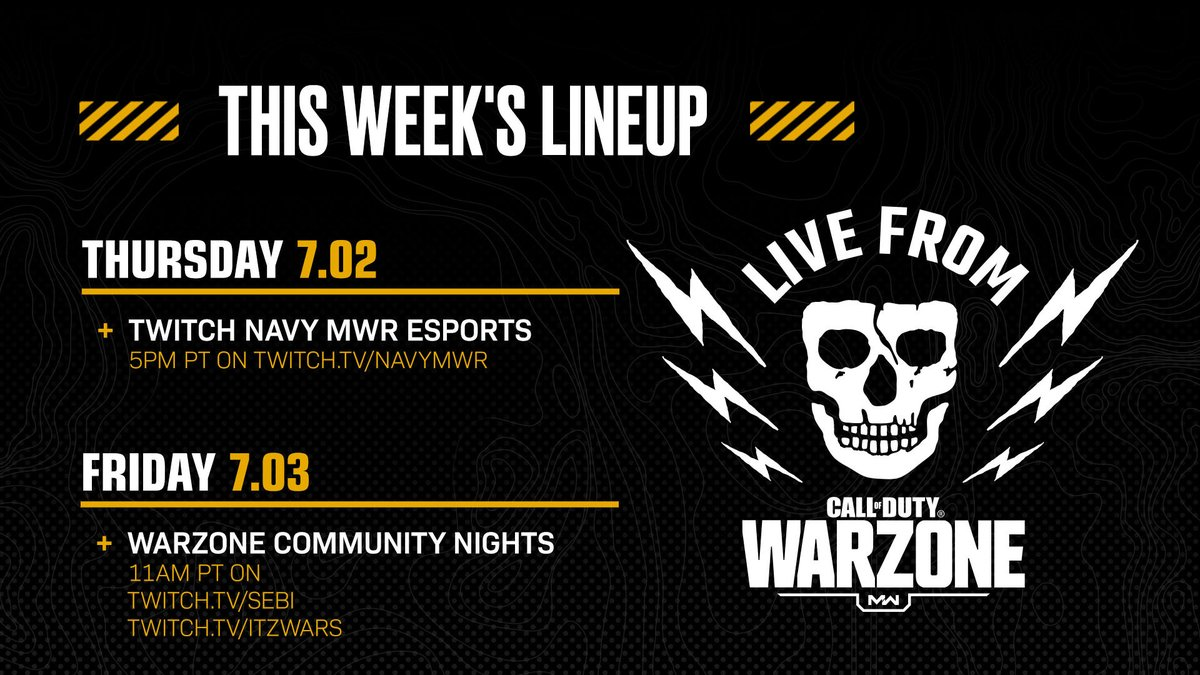 Live is the only way to watch. Heres where and when to stream this weeks #LiveFromWarzone tournaments: