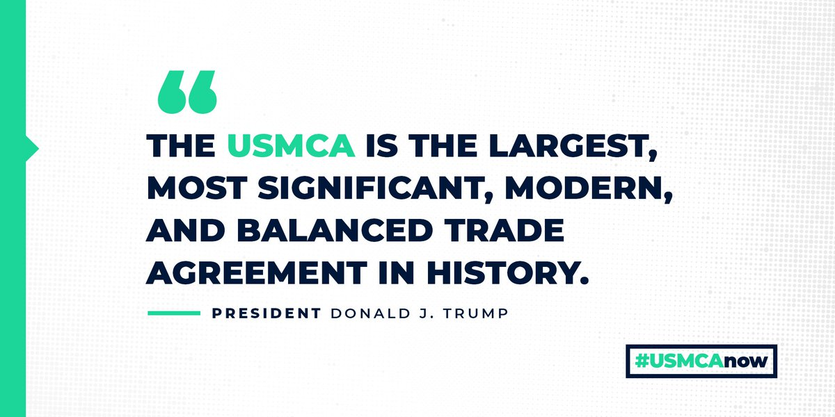 Today, the #USMCA enters into force! It updates a trade deal that pre-dates the mainstream use of smartphones. In 2018, Tennessee exported $12.7 billion to Canada and Mexico, and the USMCA will cut red tape, allowing small businesses to tap into this market.