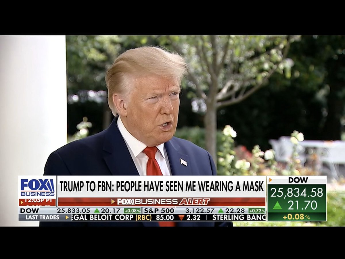"""Trump changes his tune on masks, saying he has worn a """"dark black mask"""" and liked it.  """"Looked like the Lone Ranger,"""" he says on Fox Business. https://t.co/zbhGVn6Cmh"""