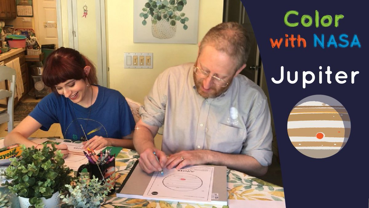 Learn all about Jupiter while coloring alongside a real NASA scientist, Steve Levin of @NASAJuno. Print your Jupiter coloring pages to follow along > go.nasa.gov/2XkI48t #ColorWithNASA #NASAatHome