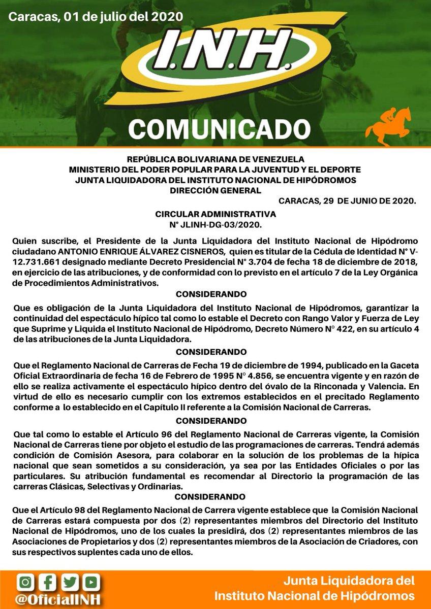 #Hipismo | Circular Administrativa sobre la renovación de la Comisión Nacional de Carreras (1/3) https://t.co/bi2SyTfbO6