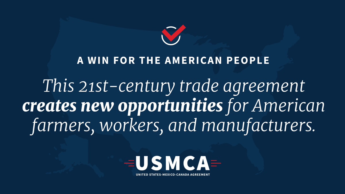 Proud of @realDonaldTrump's work on the United States-Mexico-Canada Agreement!  Today marks the #USMCA's official implementation. This is a monumental move for economic growth in North America! https://t.co/fgn4OF3Mwh