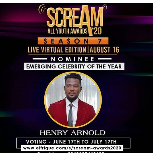 Vote @RealHenryArnold as Emerging Celebrity of the Year ...Follow him on IG at @iamhenryarnold ..God will bless our pockets as we are voting,Bolars let's bring it home. #Bolars #UltimateLoveNG <br>http://pic.twitter.com/JgCRGn6aef