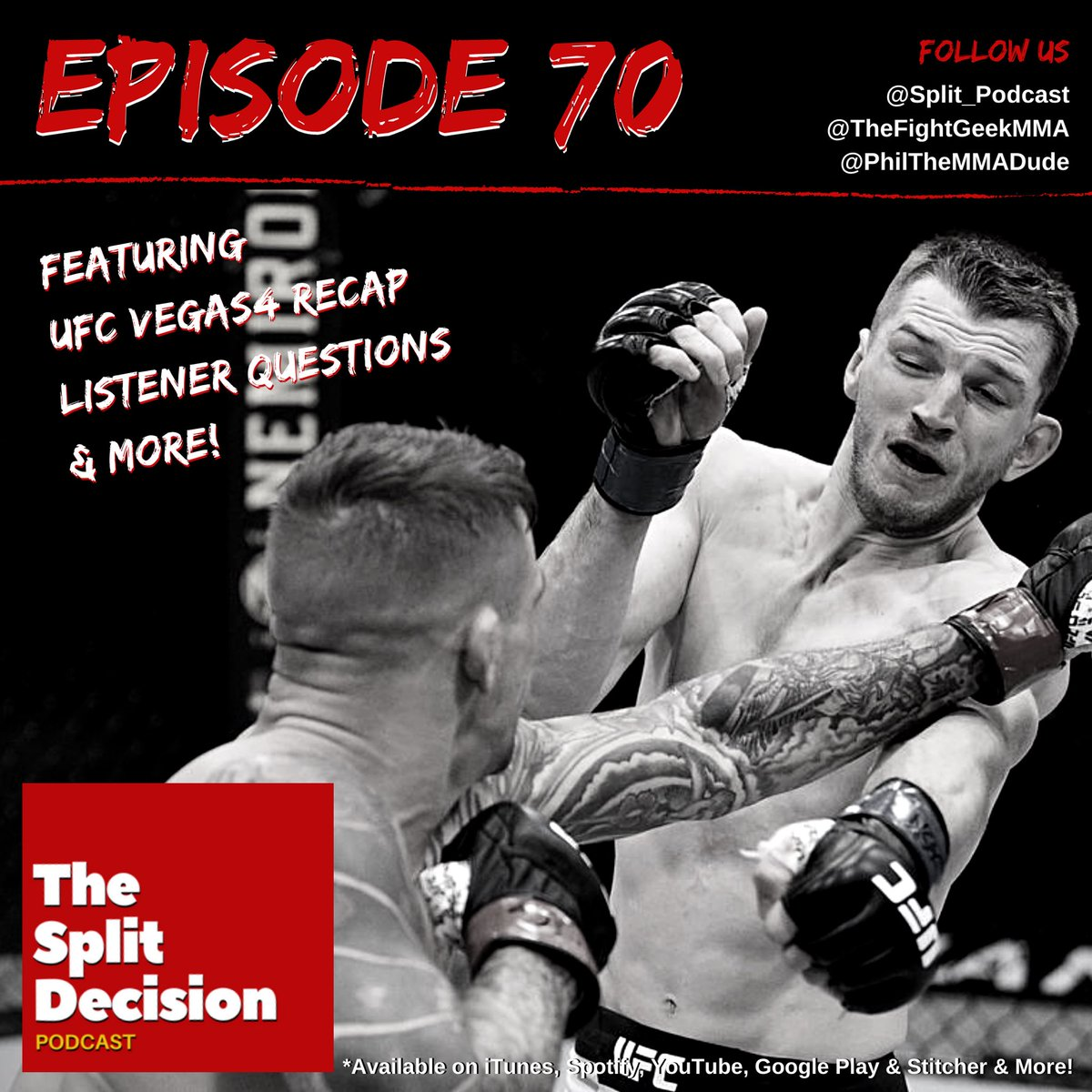 WE ARE BACK! 👊   Episode 70 of THE #SplitPodcast is available NOW featuring #UFCVegas4 Recap, Listener Questions & more!   Listen @iTunes 👉 https://t.co/f1BkEuRwb6  or @YouTube 👉 https://t.co/CyofCK3oeX https://t.co/kpCmo8m7Uu