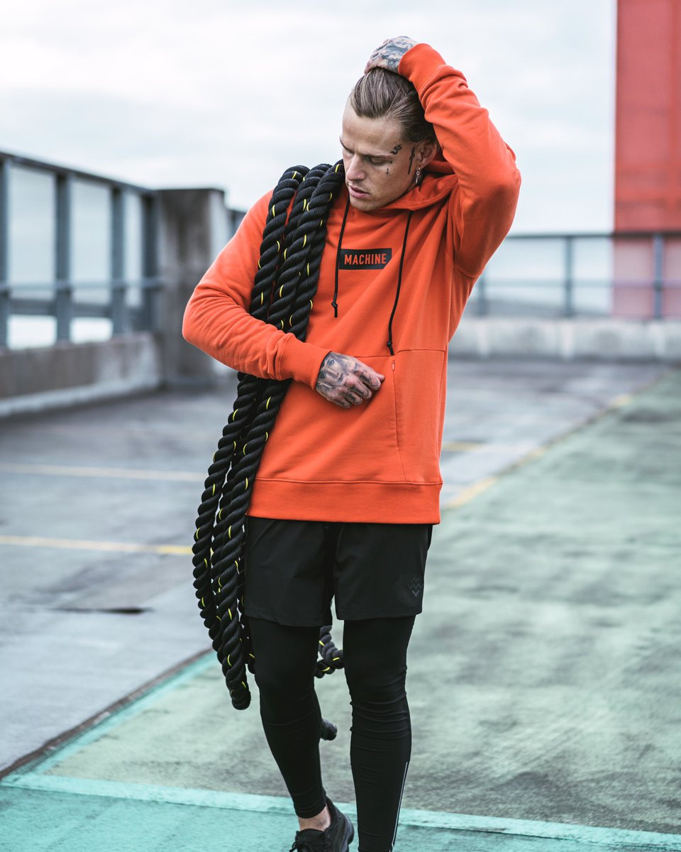 It's not about how much you want it. It's about how hard you're willing to work for it #TrainLikeAMachine Featuring our Pursuit StampD Pullover (Orange), 6 Inch Sports Shorts (Black) & Elevate Performance Leggings. https://t.co/UmNYEMEyOQ #MachineFitness https://t.co/gKuXrrlaCp