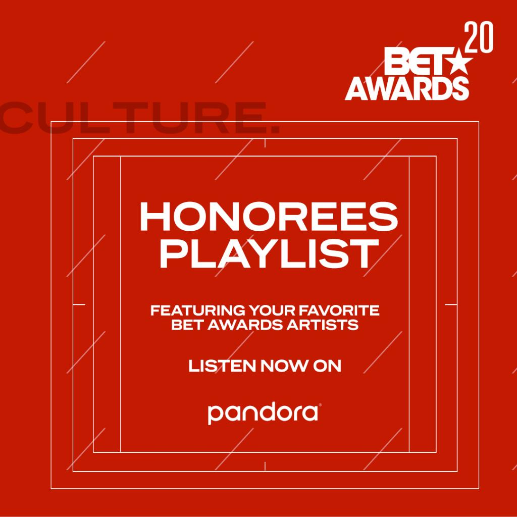 Shoutout to @pandoramusic for this special playlist featuring the best music from our honorees! #BETAwards https://t.co/CUyWdALff3 https://t.co/U1RA4NsYo1