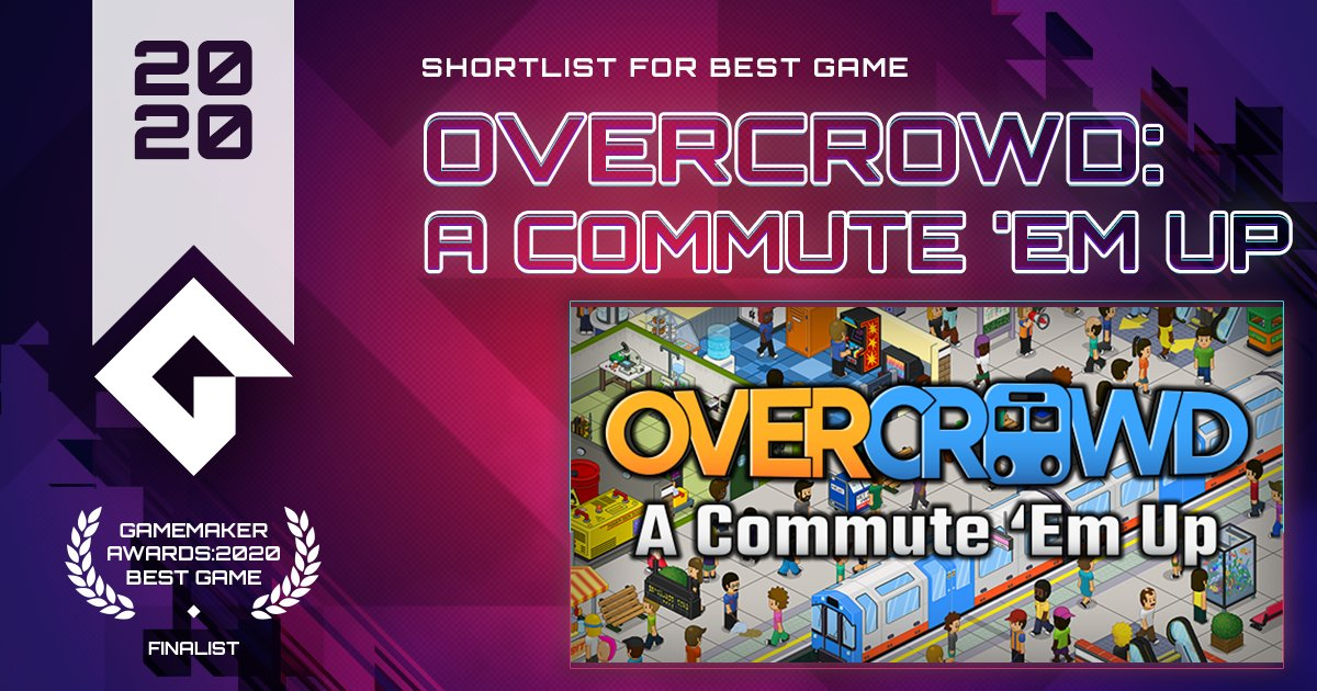 Overcrowd: A Commute 'Em Up lets you design and build the most efficient metro stations known to man! Excavate. Expand. From @SquarePlayGames.  VOTE Overcrowd for Best Game! https://t.co/sOoL4ZlEJ3 #GameMaker #GMBestGame https://t.co/maOwhuiZJ9