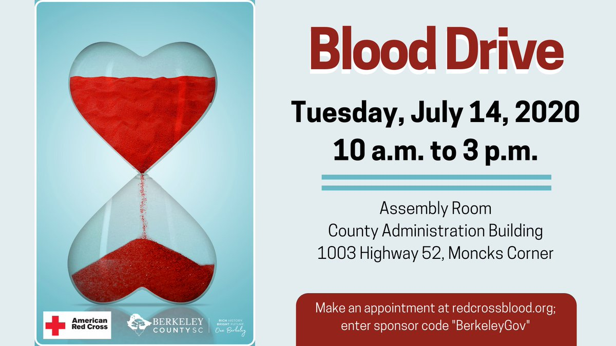 "The Red Cross & #BerkeleyCounty are hosting a blood drive 10 a.m. - 3 p.m. July 14 at the County Administration Building in Moncks Corner. Red Cross is also offering FREE #COVID19 antibody testing to donors. Register at https://t.co/E0LU1PrFbW; sponsor code ""BerkeleyGov"" #chsnews https://t.co/Sac0bU6wLf"