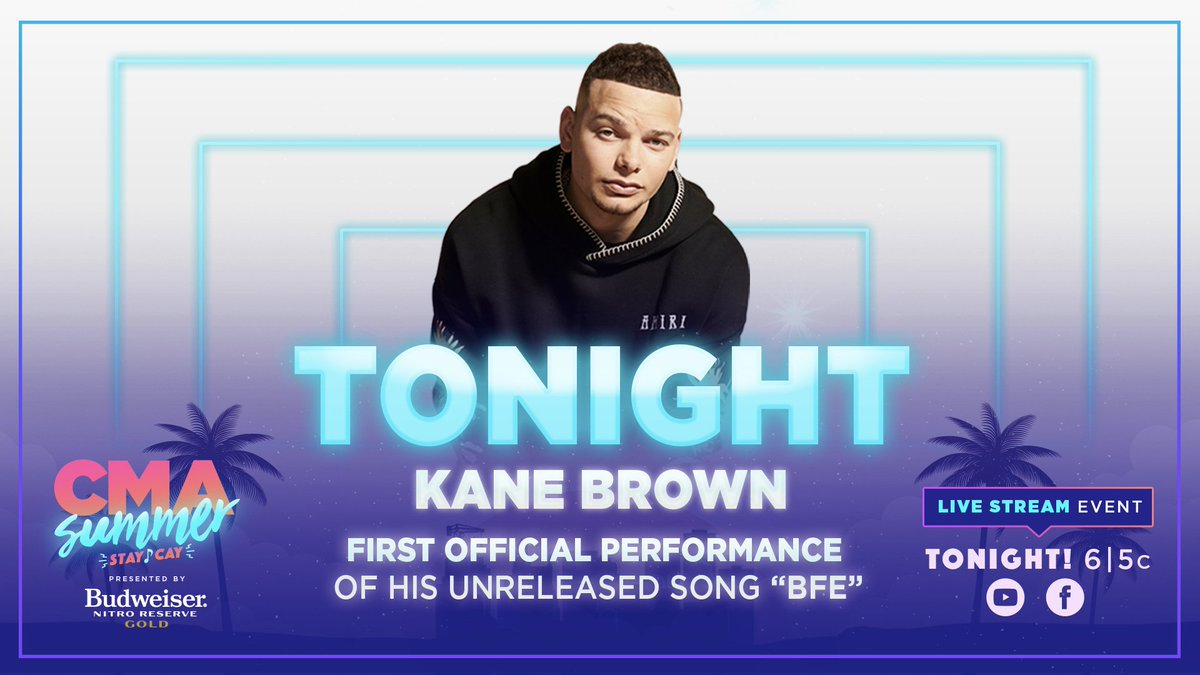 """Who else is pumped to watch @KaneBrown perform during the """"#CMASummerStayCay presented by @BudweiserUSA Nitro Gold"""" live stream TONIGHT?! 😉🎤 https://t.co/HvNZgin7Cw"""