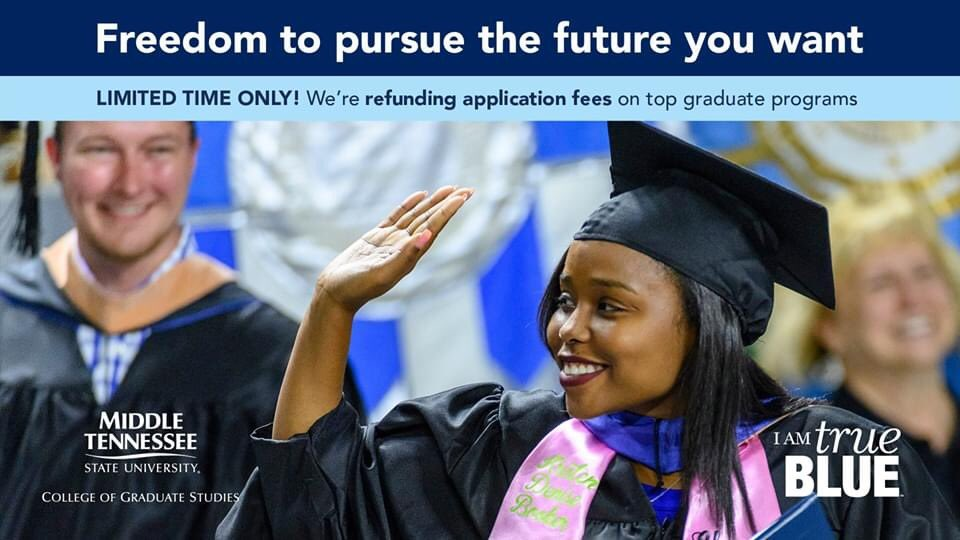 🔹LIMITED TIME ONLY!  Apply and complete your fall 20 application packet for select #masters programs below, and receive a refund on your application fee while donations remain: International Affairs Liberal Arts Master of Professional Studies Sociology @MtsuSociology @MTSUNews https://t.co/uOouMLHOzq