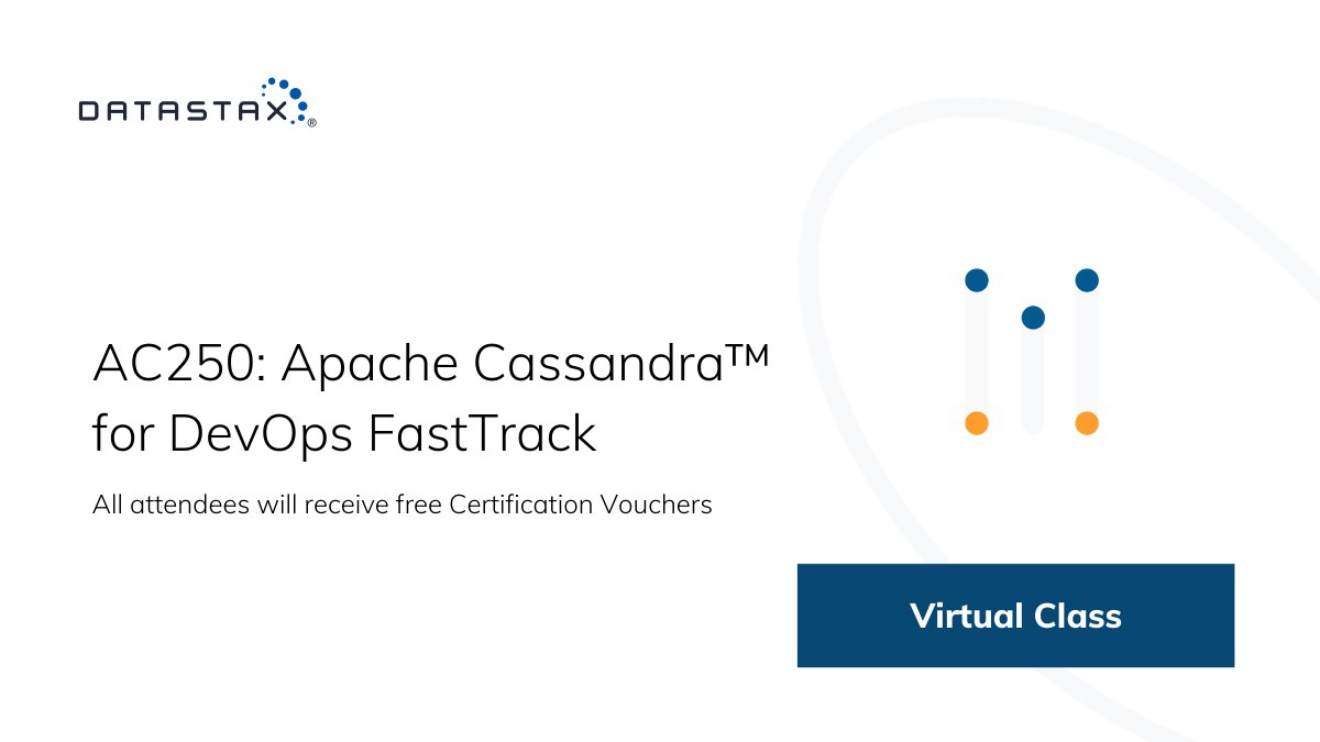 Develop the skills you need to build disruptive cloud applications. Sign up for our DevOps FastTrack course! Contact training@datastax.com for free registrations (limited). https://t.co/zR1JFEETyX #Cassandra #VirtualTraining https://t.co/HPF76gHkzA