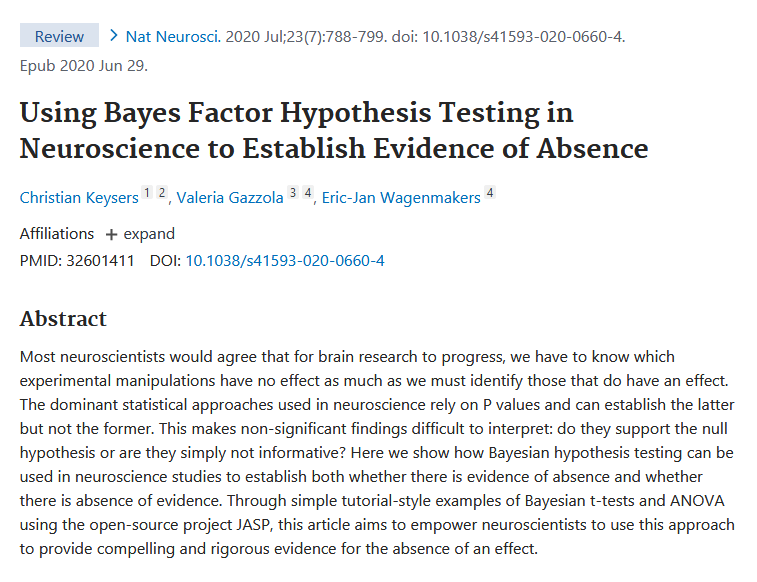 Using Bayes Factor Hypothesis Testing in Neuroscience to Establish Evidence of Absence pubmed.ncbi.nlm.nih.gov/32601411/ According to Bayesian statistics, your brain is absent