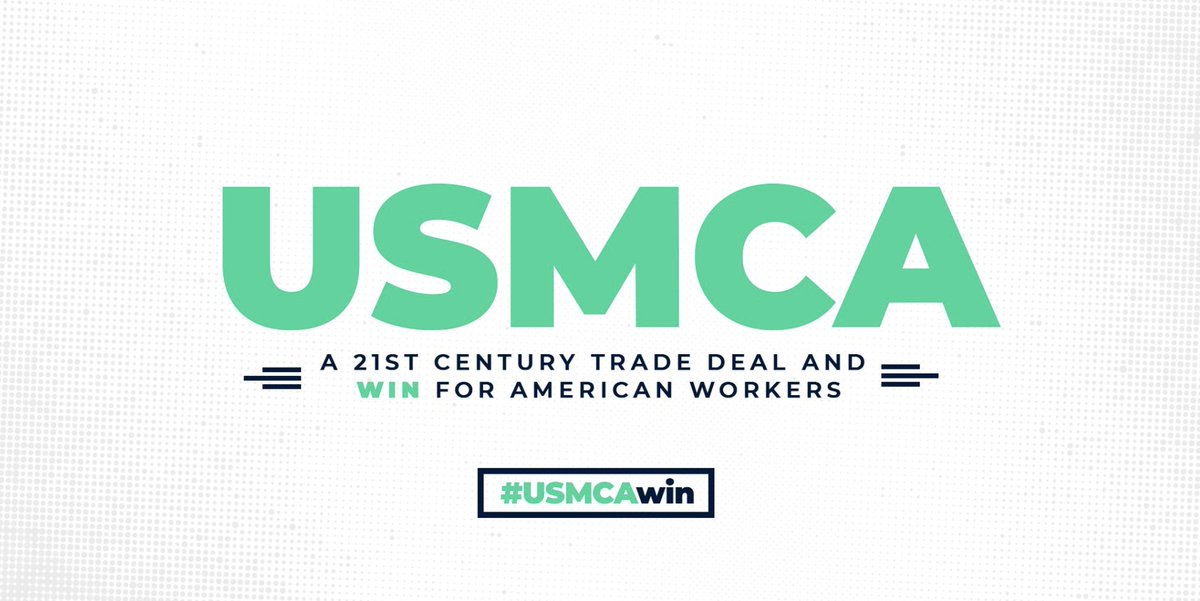 Mexico & Canada are Texas' largest trading partners so this is a big win for #TX farmers, ranchers, manufacturers, and small biz owners. #USMCA #USMCAwin