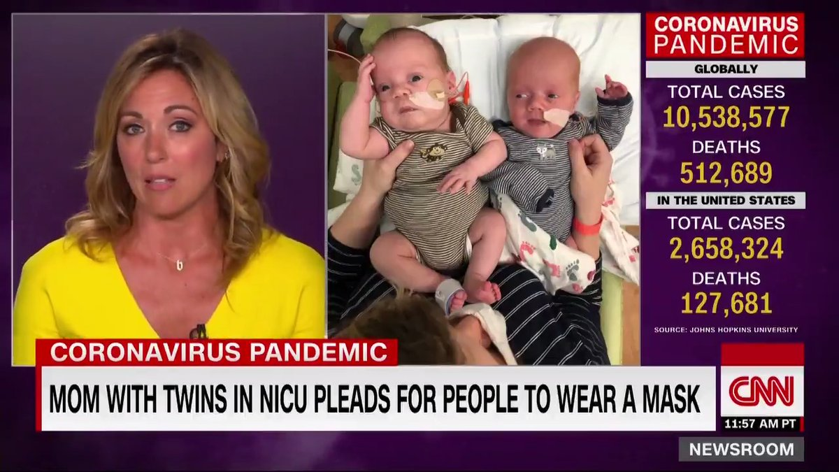 """Brooke Baldwin gets emotional while reading a heartfelt plea to wear masks from CNN colleague Chelsea McGinnis, who has twin boys in the NICU. """"Please think of these two tiny boys … if simply wearing a mask protects them, is it really so much to ask?"""" McGinnis writes. https://t.co/MBYiL92VzF"""