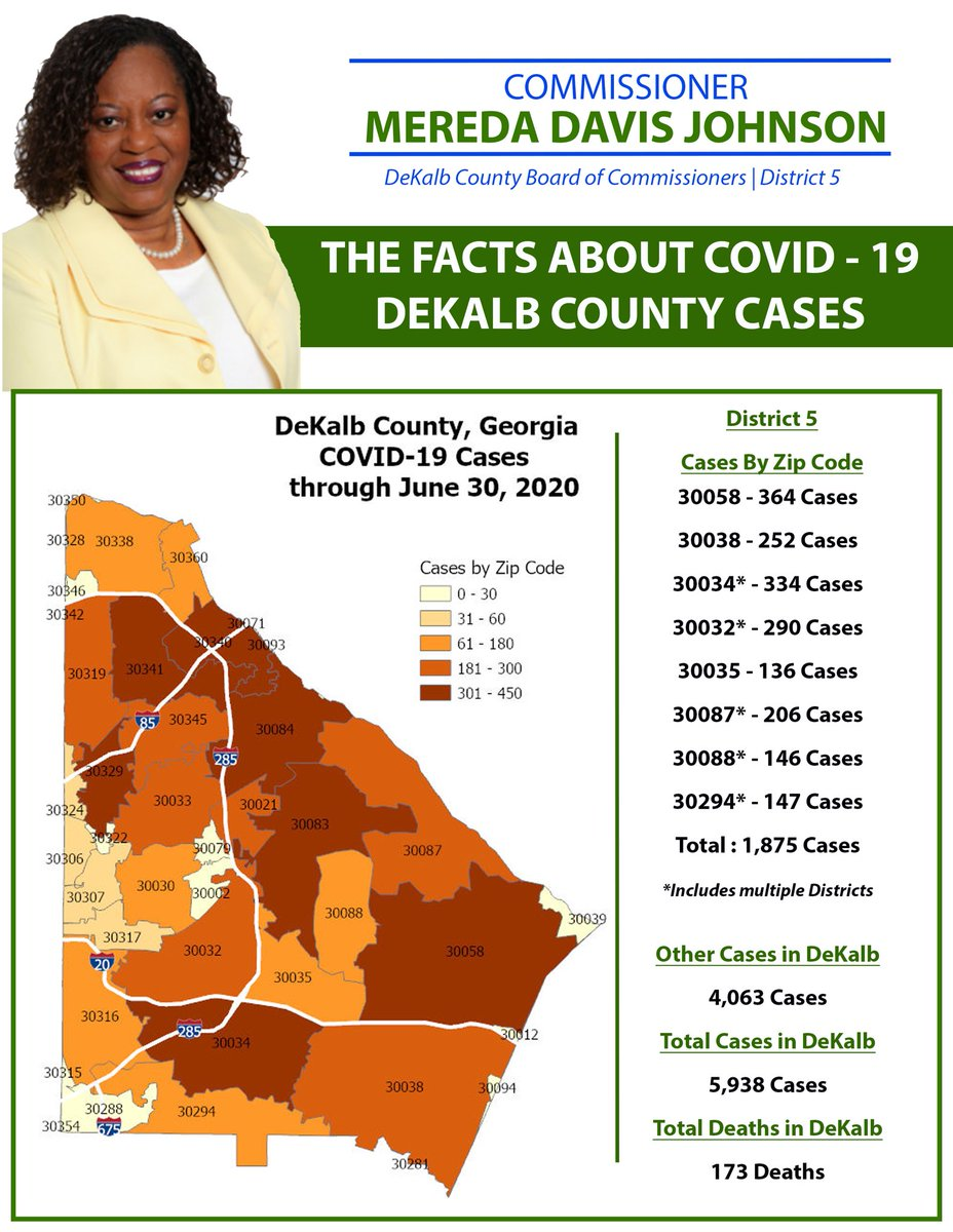 Here are our COVID -19 updated numbers in District 5 & DeKalb. Please mask up if you must go out!