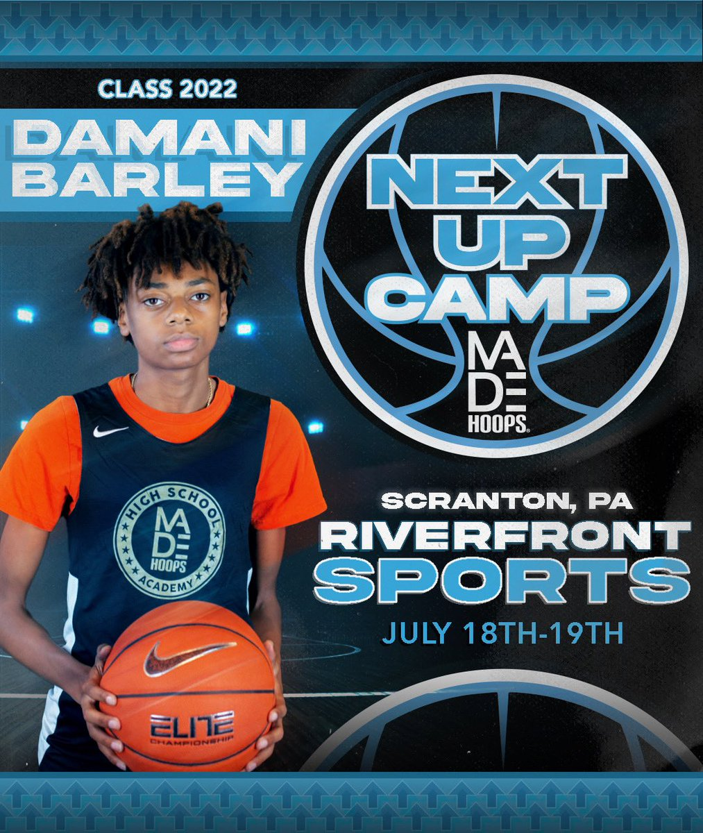 2022 Damani Barley is LOCKED IN 🔐 and ready to show out at Next Up Camp! 💪  Are YOU Next Up? It's time to #CreateYourName.  🗓: July 11th-12th, 18th-19th, & 25th-26th ⛹️: Classes 2021-2026 🏟: Riverfront Sports 📍: Scranton, PA 🎥: Live Streamed  🎟: https://t.co/Pwy8j4Nvqa https://t.co/cZMZKmFKIR