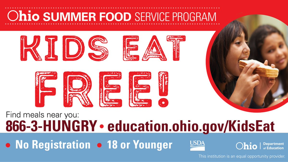 Help us spread the word: Children eat FREE!  We're sponsoring the Summer Food Service Program to provide children with free, healthy meals.  It's easy and no sign up is required. Call 866-3-HUNGRY or visit  http:// education.ohio.gov/KidsEat     to find meal locations and times. #OhioEd <br>http://pic.twitter.com/LIGPbLs5Gy