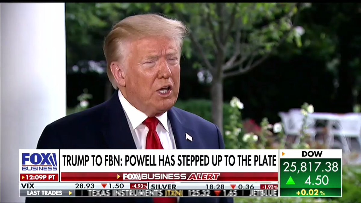 """""""The market is just a little bit shy, not much, of where it was and before we had the highest market in history. Were not very far off of that.""""—@realDonaldTrump"""