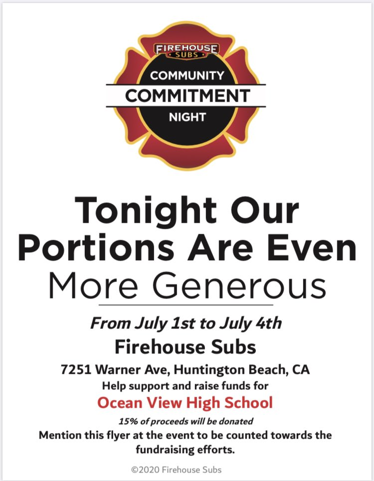 Pick up some delicious food at Firehouse Subs this week and support OV!pic.twitter.com/gVMalQ1VDN
