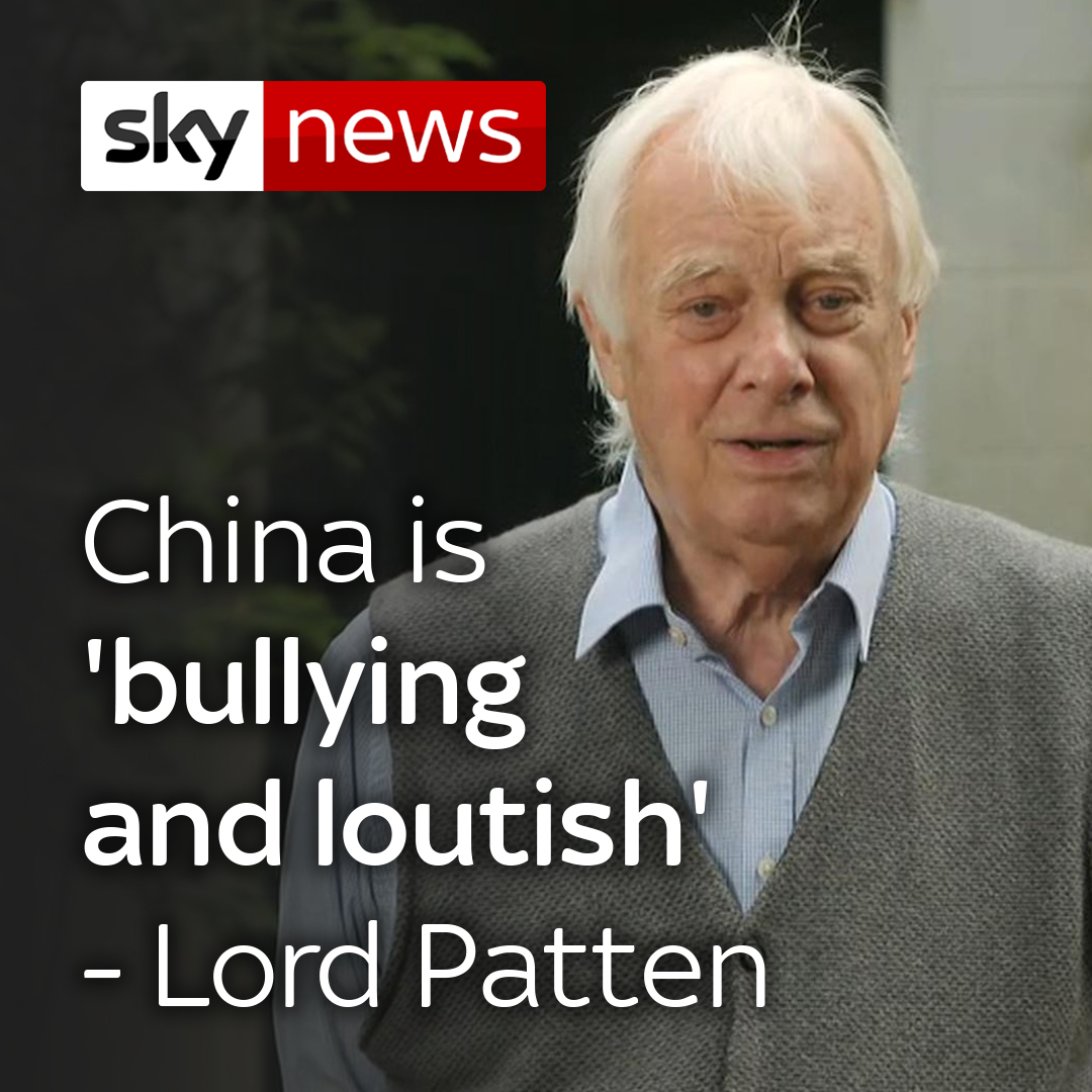 """Lord Patten: China is 'bullying and loutish.'  Hong Kong's last governor under British rule said the new law was a """"complete overturning of One Country, Two Systems"""" - the principle under which the declaration was formed.  Read more on this story here: https://t.co/xaBKDjcnIC https://t.co/rVvNicC2L2"""