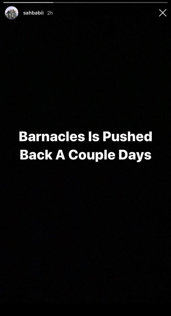 """SahBabii announces his album """"Barnacles"""" will be pushed back a couple days. 😡  It was supposed to drop this Friday. https://t.co/9fZnRIf0pd"""