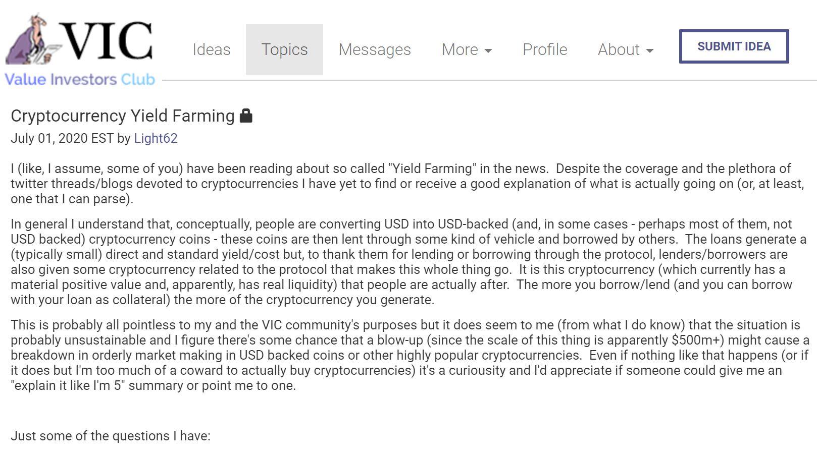 Value Investors Club Ethereum, Yield farming
