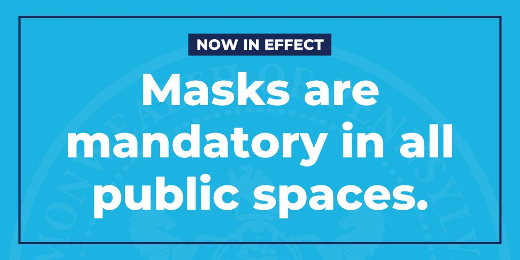 Reminder: In Pennsylvania, masks must now be worn whenever anyone leaves home.  It is essential that Pennsylvanians wear masks to prevent the spread of #COVID19.  More about this requirement: https://t.co/86fURayk6c https://t.co/P0zBlKLt2Y