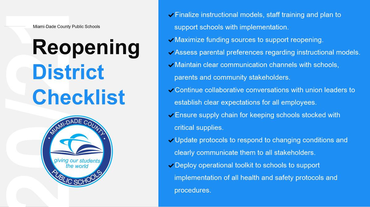 Once the #MDCPSReopening plan is finalized, we will shift to creating conditions for our work locations –particularly schools – to be able to implement it. There are several tasks we will be completing in the coming weeks. https://t.co/1XOafiWVkd