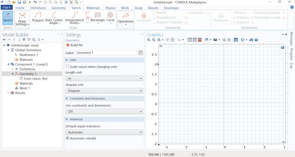 Sketch mode, for drawing 2D geometries and 3D work planes in COMSOL Multiphysics, includes grid lines and indicators for guidance when sketching objects.   Learn more here: https://t.co/1ggett7Ler (comprehensive blog post w/ 9 screen recordings) https://t.co/tmJIvpuOmP