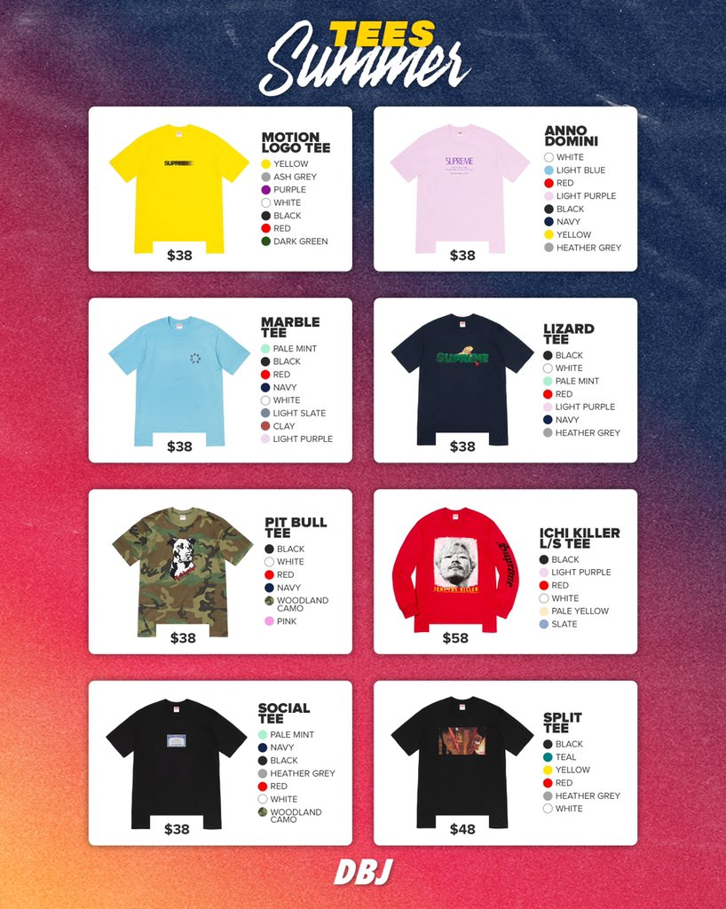 🌴 Supreme Summer Tee Colors 🎨   Which ones are a must for you?