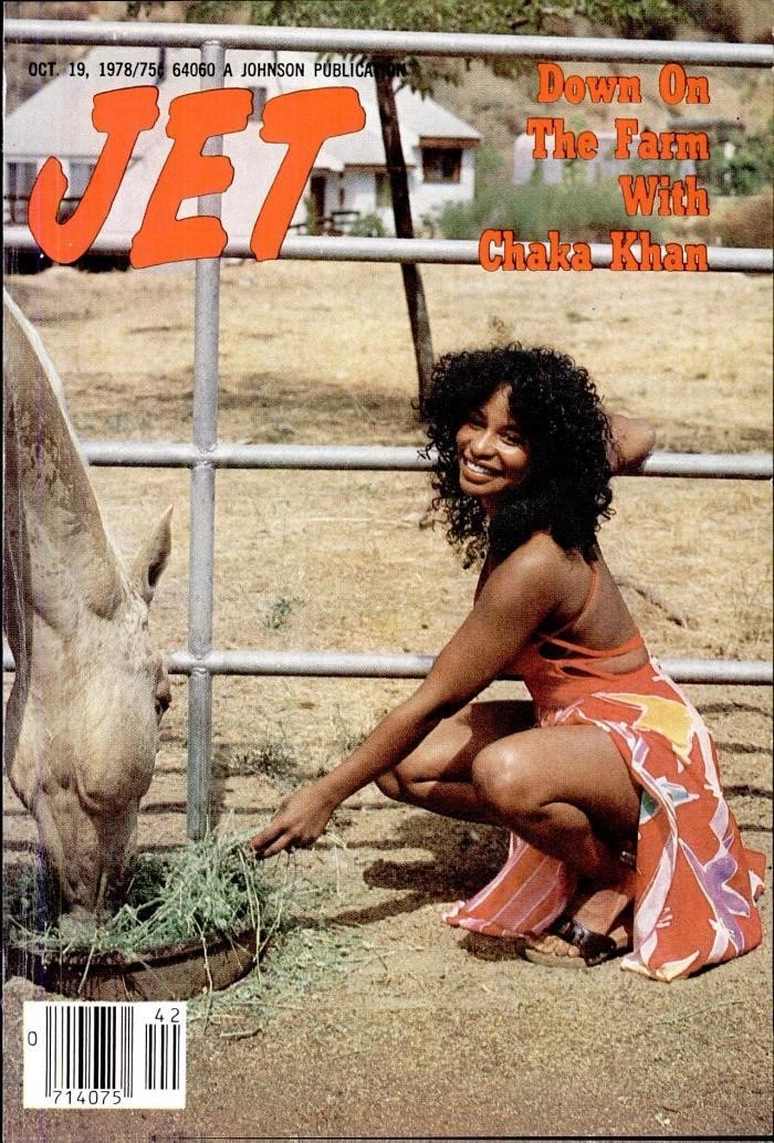 """chaka khan on the cover of """"jet"""" magazine in 1978."""