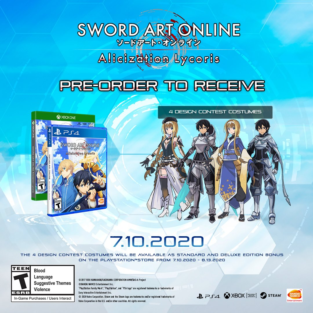 Pre-order the Standard or Deluxe Edition of SWORD ART ONLINE Alicization Lycoris digitally to get 4 bonus costumes! PlayStation users receive the same bonus by digitally purchasing the game between 7/10 - 8/13.  #SAOAL arrives July 10th 2020! https://t.co/blrh7iZupw https://t.co/mcJpyFjfXS