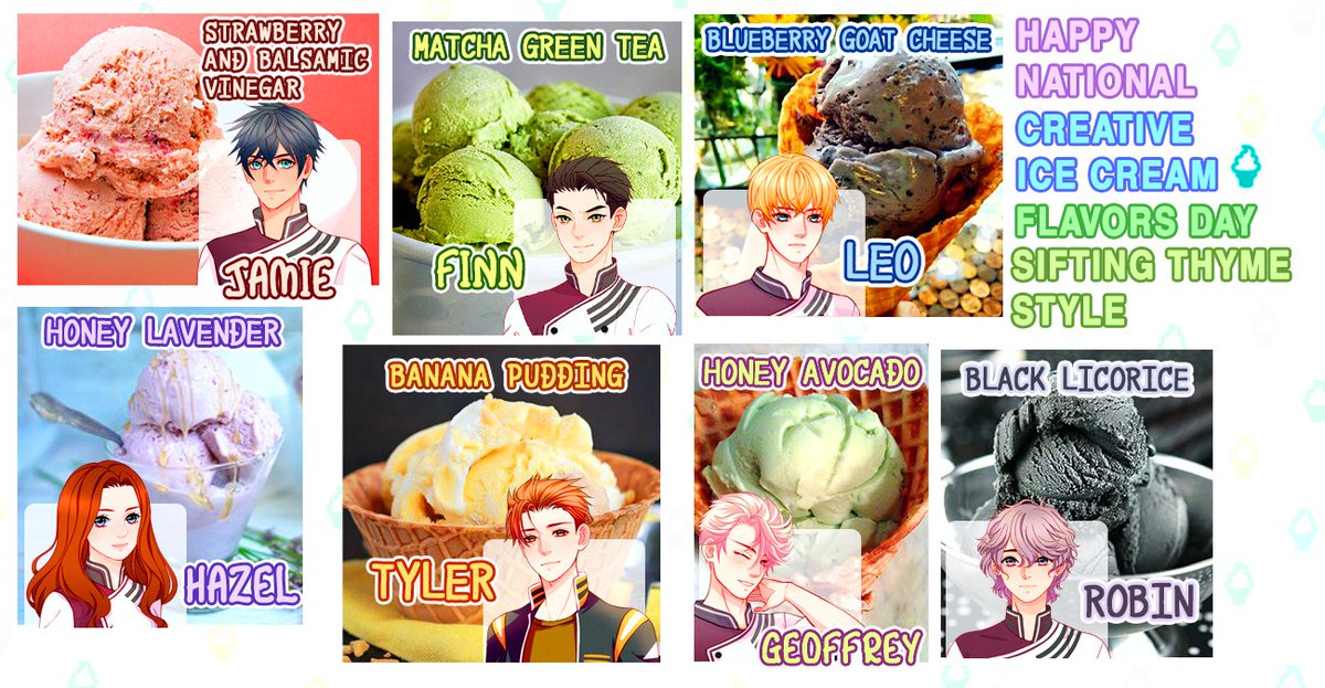 Happy National Creative Ice Cream Flavor Day! Celebrating it with the Sifting Thyme fam and their favorite flavors! #siftingthyme #visualnovel #otomegame #nationalicecreamflavorsday #icecream #gamememes #icecreamday #summertimepic.twitter.com/McsJbT6ygN