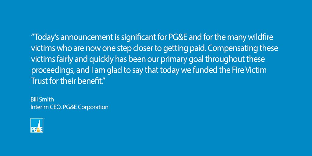 PG&E Obtains All Financing Necessary to Emerge from Chapter 11 and for Ongoing Operations - Funds Fire Victim Trust with $5.4 Billion in Cash and Common Stock Representing 22.19% Ownership Stake in PG&E Corporation https://t.co/NvX4ASm2o5 https://t.co/4jlszPAPG9
