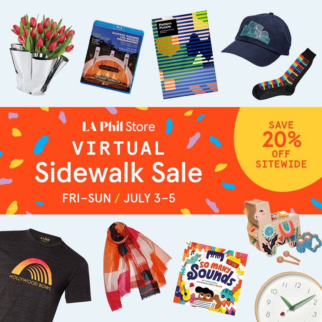 Get 20% off great gifts, Hollywood Bowl and @LAPhil merch, books, and much more at the LA Phil and Hollywood Bowl Stores -- our virtual sidewalk sale starts today! 🛍️📚🌟  Shop now at https://t.co/EdqrvSGhOe https://t.co/pEqQMV8wvY