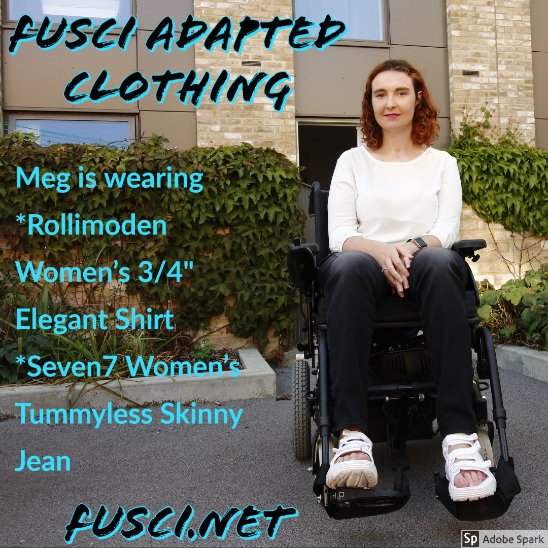 Meg shown wearing our product. Get this outfit and other adapted clothing at http://www.fusci.net   #wheelchairclothing #adaptiveclothing #seatedwear #fuscipic.twitter.com/g7OTMFVYZh