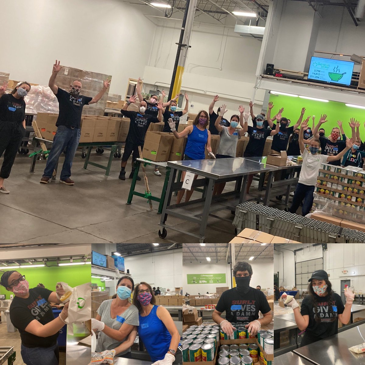 Packed up 3,798 bags of food (that's 14,812 meals) for hungry kids today at @SheridanStory! Job well done all. #SGAD10