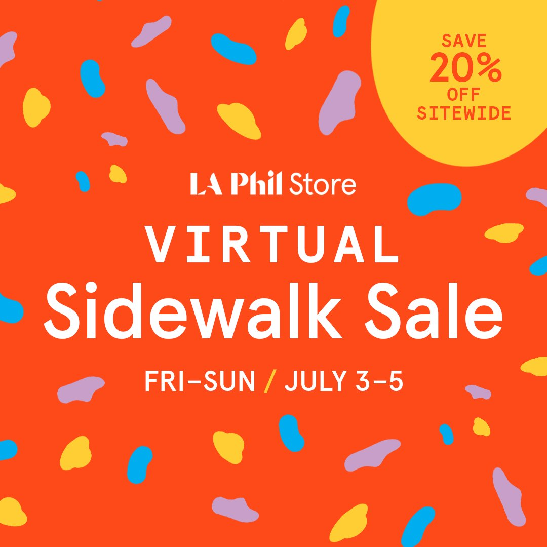 ✨Don't forget!✨ Today's the last day to get 20% off your favorite books, merch, and more in the @LAPhil and Hollywood Bowl Stores' virtual sidewalk sale!   Shop now at https://t.co/EdqrvSGhOe 🛍️ https://t.co/wa5S56aBD7