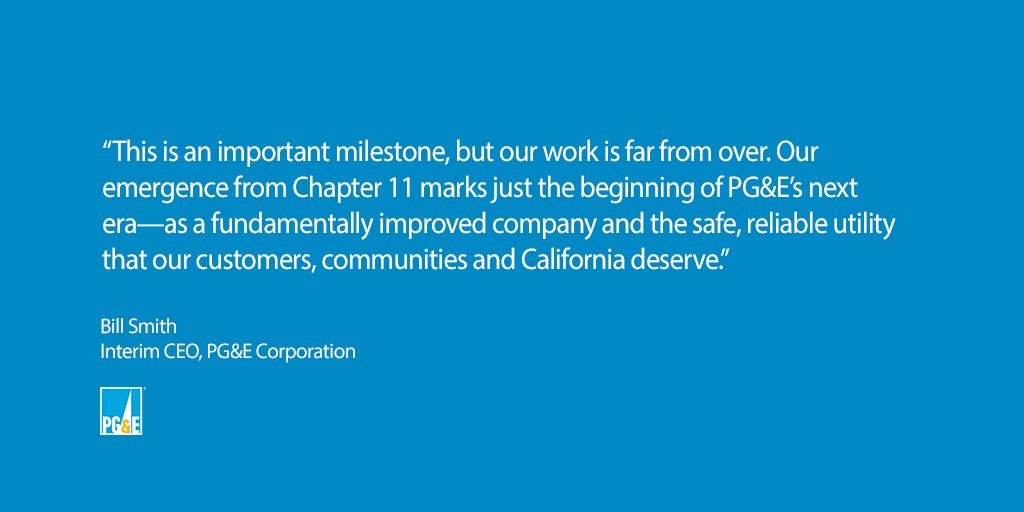 PG&E Obtains All Financing Necessary to Emerge from Chapter 11 and for Ongoing Operations - Remains Focused on Commitments to Transform PG&E for the Long Term  https://t.co/Tla5EaNZyz https://t.co/kM7Za3ZuSC