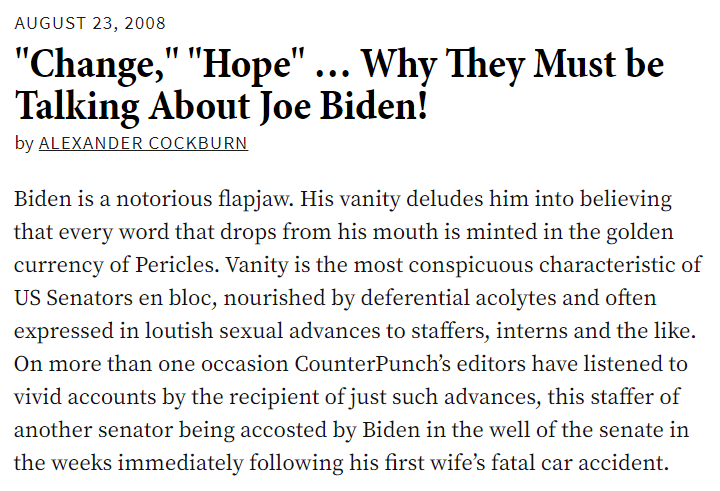 hey remember how biden was credibly accused of assault and rape and then the establishment liberal media did a couple hit-pieces on the victims and now it's fallen off the face of the earth and everyone pretends like it never happened? here's a piece about biden *from 2008*