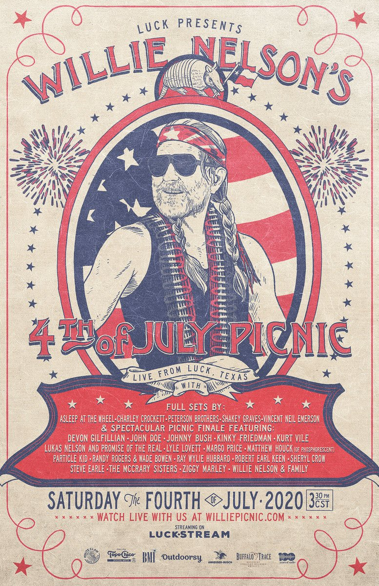 RT HDRadio Were celebrating the 4th of July with American legend WillieNelson! _ Catch the Willie Picnic featuring performances from SherylCrow, ziggymarley, lukasnelson, and many more at 3:30pm CST, July 4th! 📻🎶 williepicnic.com