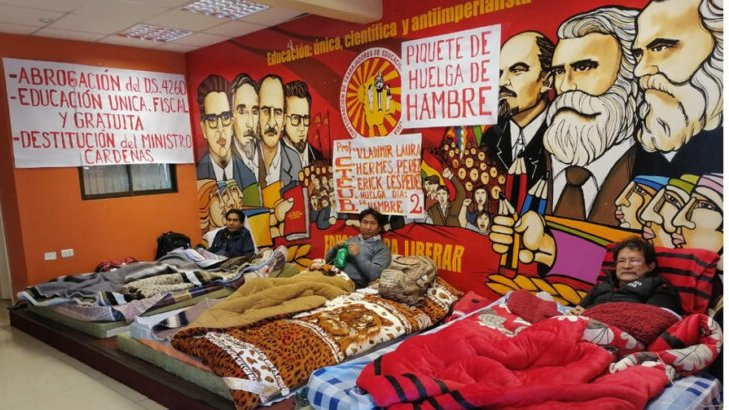 Bolivia's teacher's unions have begun a hunger strike, to protest against the regime's privatization of education. <br>http://pic.twitter.com/xU6xSEZ4p7