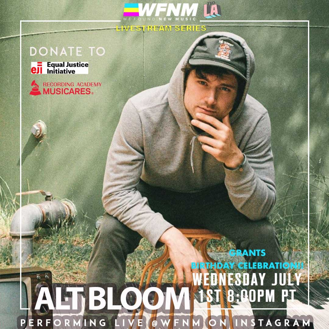 .@AltBloom plays our livestream showcase at 8:00pm PT tonight benefiting @musicares & @eji_org on the WFNM livestream at https://t.co/Mrc13L94sB to celebrate @GrantOwensMusic's bday! https://t.co/zCUcCXqUwE