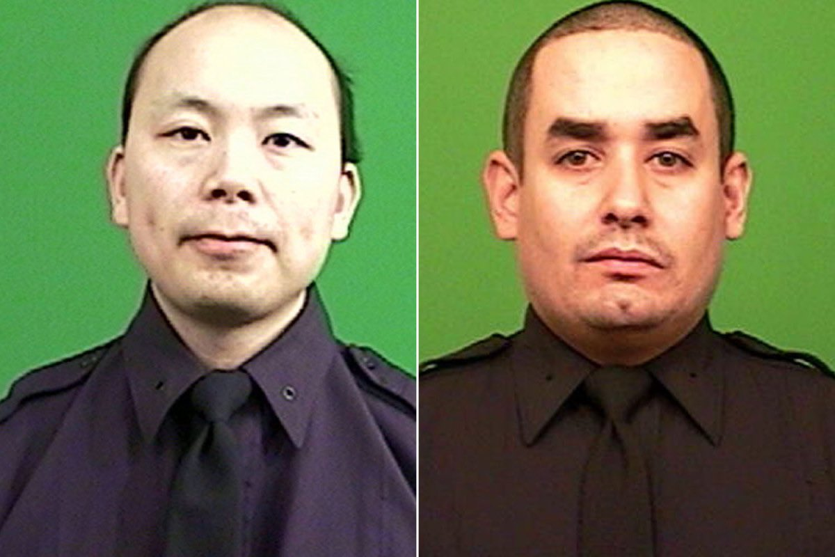 Officers Wenjian Liu and Rafael Ramos were working overtime as part of an anti-terrorism drill when they were assassinated in December 2014 #NeverForget @NYPDnews @NYPDCT  May they rest in Our Lord's Peace  #DefendThePolice<br>http://pic.twitter.com/kfUQSHIG8E